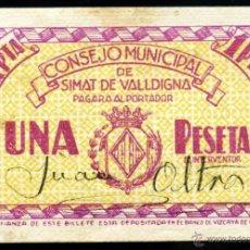 Billetes locales: SIMAT DE VALLDIGNA (VALENCIA) - 1 PESETA SIN FECHA - FIRMA MANUSCRITA JUAN OLTRA - MUY BONITO. Lote 51172917