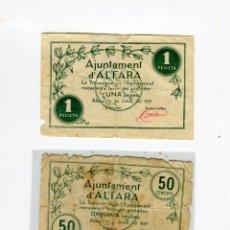 Billetes locales: ALFARA DE CARLES (TARRAGONA) TRES BILLETES JULIOL DE 1937 (25 CTS.-50 CTS-1 PESETA) TIRADA 1000 U RR. Lote 51181254