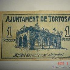 Billetes locales: BILLETE LOCAL 1 PESETA AYUNTAMIENTO DE TORTOSA. 1937. Lote 51405693