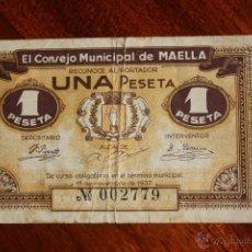 Billetes locales: MAELLA, 1 PESETA 1937. Lote 51933646