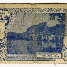 Billetes locales: MIRAVET (TARRAGONA) CONSELL MUNICIPAL BILLETE UNA PESSETA 24 DE JUNY DE 1937. Lote 51982524