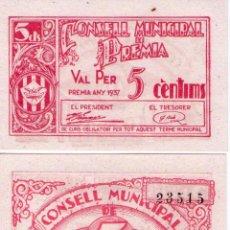 Billetes locales: PAREJA CORRELATIVA SIN CIRCULAR PREMIA 5 CÉNTIMOS. Lote 52453326