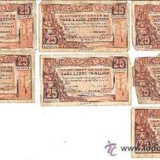 Billetes locales: B360 AYUNTAMIENTO DE LLEIDA. LOTE DE 13 BILLETES DE 25 CTS (7), 50 CTS (4) Y 1 PTA (2). 1937. USADOS. Lote 36586037