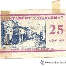 Billetes locales: B353 AYUNTAMIENTO DE VILADEMAT (GERONA). 25 CÉNTIMOS. PAPEL.. Lote 36589973