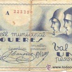 Billetes locales: B354 CONSELL MUNICIPAL DE FIGUERES (GERONA). 1 PESETA. PAPEL. MARZO 1937. MUY USADO. Lote 36590842