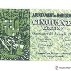 Billetes locales: B359 AJUNTAMENT DE BARCELONA - 50 CÉNTIMOS - MAYO DE 1937 - EN. Lote 39836494