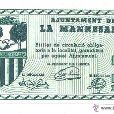Billetes locales: B357 AJUNTAMENT DE LA MANRESANA - 1 PESETA - PLANCHA. Lote 39836834