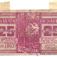 Billetes locales: B367 AYUNTAMIENTO DE SALDES (BARCELONA). 25 CÉNTIMOS. PAPEL. JUNIO 1937. MUY USADO. Lote 36590319