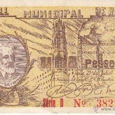 Billetes locales: GUERRA CIVIL BILLETE LOCAL DE REUS 1 PTA SOL I ORTEGA EBC. Lote 52729704