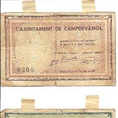 Billetes locales: B370 AYUNTAMIENTO DE CAMPDEVÀNOL (GERONA). LOTE DE 1 PESETA Y 50 CTS. JUNIO 1937. ESTADO REGULAR. Lote 36574703