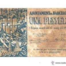 Billetes locales: B369 AJUNTAMENT DE BARCELONA - 1 PESETA - MAYO DE 1937 - EN PERO CON MANCHAS. Lote 39836570