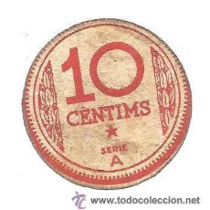 Billetes locales: B380 CONSELL MUNICIPAL DE MANRESA (BARCELONA). 10 CÉNTIMOS. SERIE A. CARTÓN FINO. USADO. Lote 36553662