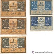 Billetes locales: B371 C. M. DE MANRESA (BARCELONA). LOTE DE 5 BILLETES DE 1 PESETA Y 50 CTS. PAPEL. USADOS. Lote 36585654