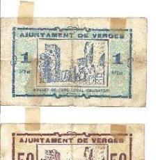 Billetes locales: B376 AYUNTAMIENTO DE VERGES (GERONA). LOTE DE 3 BILLETES DE 25 Y 50 CTS Y DE 1 PTA. PAPEL. USADOS. Lote 36588999