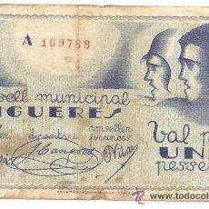 Billetes locales: B378 CONSELL MUNICIPAL DE FIGUERES (GERONA). 1 PESETA. PAPEL. MARZO 1937. USADO. Lote 36609490