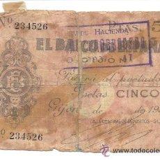 Billetes locales: B379 BANCO DE ESPAÑA - GIJÓN - 5 PESETAS - 1936 - MUY DETERIORADO. Lote 36609547