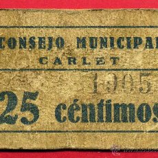 Billetes locales: BILLETE LOCAL, GUERRA CIVIL , 25 CENTIMOS ,CONSEJO MUNICIPAL CARLET , VALENCIA ,ORIGINAL. Lote 52942475
