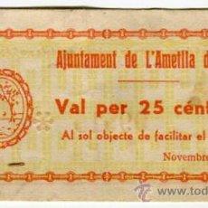 Billetes locales: AMETLLA DE MAR AJUNTAMENT 25 CENTIMS NOVIEMBRE DE 1937. Lote 53273823