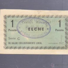Billetes locales: BILLETE DE 1 PESETA. ELCHE. CONSEJO MUNICIPAL. AÑO 1937.. Lote 53609786