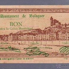 Billetes locales: BILLETE LOCAL DE 50 CENTIMOS. AYUNTAMIENTO DE BALAGUER. 1937. Lote 53610711