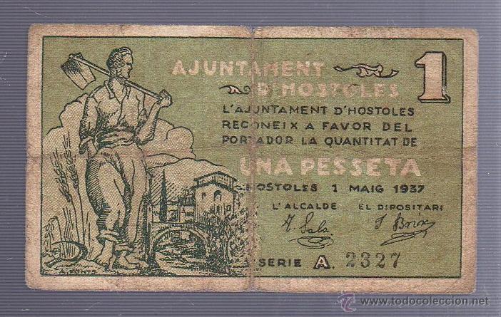 BILLETE LOCAL DE 1 PESETA. AYUNTAMIENTO DE HOSTOLES. 1937 (Numismática - Notafilia - Billetes Locales)