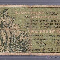 Billetes locales: BILLETE LOCAL DE 1 PESETA. AYUNTAMIENTO DE HOSTOLES. 1937. Lote 53610726