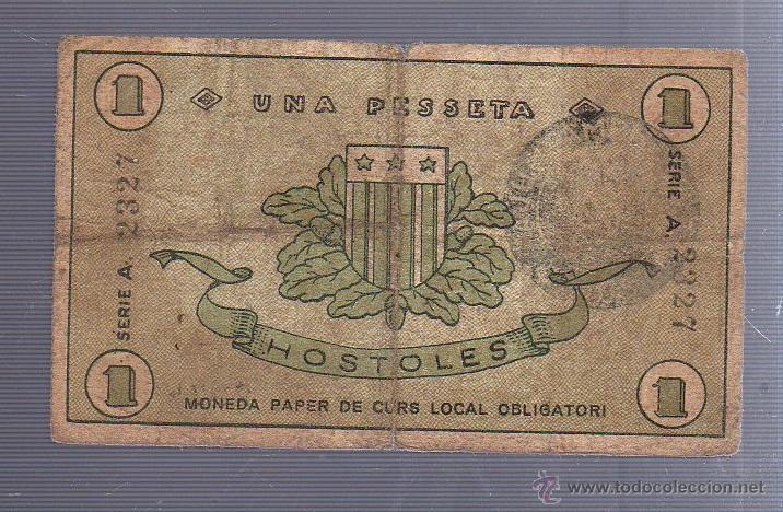 Billetes locales: BILLETE LOCAL DE 1 PESETA. AYUNTAMIENTO DE HOSTOLES. 1937 - Foto 2 - 53610726