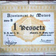 Billetes locales: AJUNTAMENT DE MATARO 1937 GUERRA CIVIL 1 PESETA SERIE A VER FOTOS . Lote 53641019