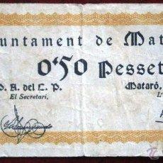 Billetes locales: AJUNTAMENT DE MATARO 1937 GUERRA CIVIL 50 CENTIMOS 0´50 PESETAS VER FOTOS. Lote 53641026