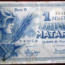 Billetes locales: AJUNTAMENT DE MATARO 1937 GUERRA CIVIL 1 PESETA VER FOTOS . Lote 53641029