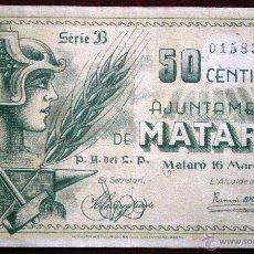Billetes locales: AJUNTAMENT DE MATARO 1937 GUERRA CIVIL 50 CENTIMOS VER FOTOS . Lote 53641031