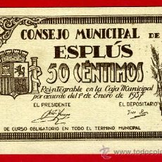 Billetes locales: BILLETE LOCAL, GUERRA CIVIL 1937 , 50 CENTIMOS , ESPLUS , HUESCA , SIN CIRCULAR , ORIGINAL ,T3496. Lote 53743041