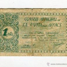 Billetes locales: AJUNTAMENT DE LA RAPITA DELS ALFACS UNA PESSETA AÑO 1937. Lote 53771641