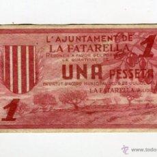 Billetes locales: LA FATARELLA AJUNTAMENT UNA (1) PESSETA JULIOL DE L'ANY 1937. Lote 53772647