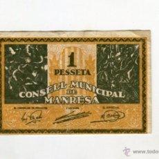 Billetes locales: MANRESA CONSELL MUNICIPAL UNA PESSETA (1) . Lote 53777520