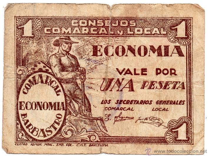 1 PESETA DE BARBASTRO CONSEJO COMARCAL Y LOCAL (Numismática - Notafilia - Billetes Locales)