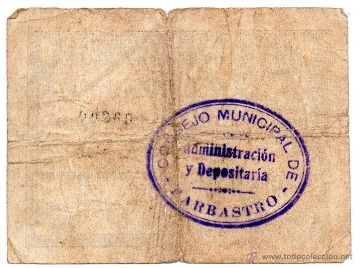 Billetes locales: 1 peseta de Barbastro consejo comarcal y local - Foto 2 - 54270296
