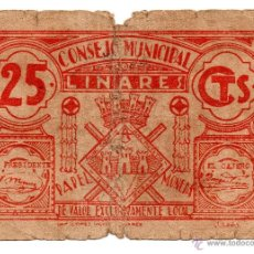 Billetes locales: GUERRA CIVIL : BILLETE LOCAL DE 25 CTS CONSEJO MUNICIPAL DE LINARES ( JAEN ). Lote 54270370