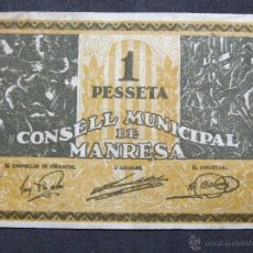 Billetes locales: BILLETE LOCAL MANRESA 1 PESETA. Lote 54417424