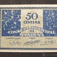 Billetes locales: BILLETE LOCAL MANRESA 50 CENTIMOS. Lote 54417462
