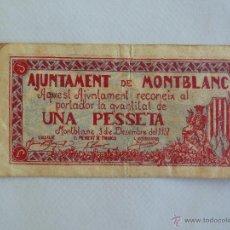 Billetes locales: BILLETE 1 PESETA AJUNTAMENT MONTBLANC DICIEMBRE 1937 - TURRÒ 1772. Lote 54573835