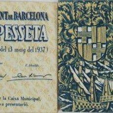 Billetes locales: BI-020 - LOTE 2 BILLETES DE 1 PESETA,MONEDA LOCAL. AJUNTAMENT DE BARCELONA. 1937.. Lote 50287460