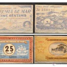 Billetes locales: LOTE DOS BILLETES 5 Y 25 CENTIMS AJUNTAMENT DE PREMIA DE MAR. Lote 54914083