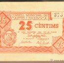 Billetes locales: BILLETE LOCAL 25 CENTIMOS CONSELL MUNICIPAL DE CASTELLSARROCA TARRAGONA. Lote 52624047