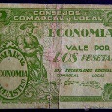Billetes locales: BILLETE ORIGINAL DE EPOCA. 2 PESETAS. BARBASTRO (HUESCA). CONSEJO COMARCAL Y LOCAL.1937.GUERRA CIVIL. Lote 54991110