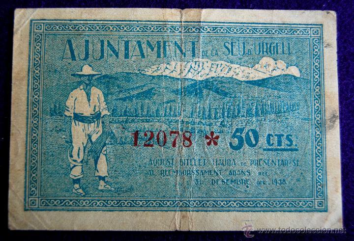 Billetes locales: BILLETE LOCAL ORIGINAL DE EPOCA. SEU DE URGELL (LERIDA). CINQUANTA CENTIMS. 1937. GUERRA CIVIL. - Foto 2 - 54991200