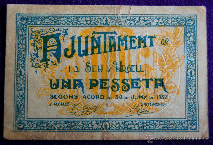 BILLETE LOCAL ORIGINAL DE EPOCA. SEU DE URGELL (LERIDA) UNA PESETA. 1937. GUERRA CIVIL. (Numismática - Notafilia - Billetes Locales)