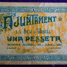 Billetes locales: BILLETE LOCAL ORIGINAL DE EPOCA. SEU DE URGELL (LERIDA) UNA PESETA. 1937. GUERRA CIVIL.. Lote 54991242