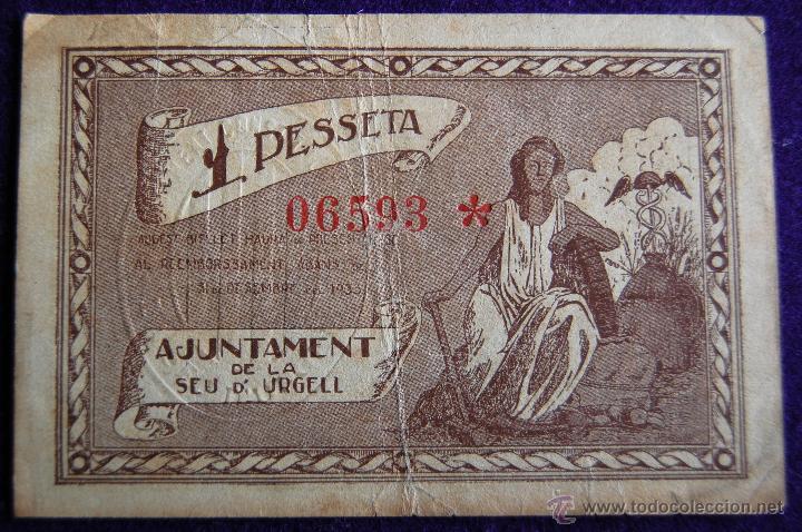 Billetes locales: BILLETE LOCAL ORIGINAL DE EPOCA. SEU DE URGELL (LERIDA) UNA PESETA. 1937. GUERRA CIVIL. - Foto 2 - 54991242