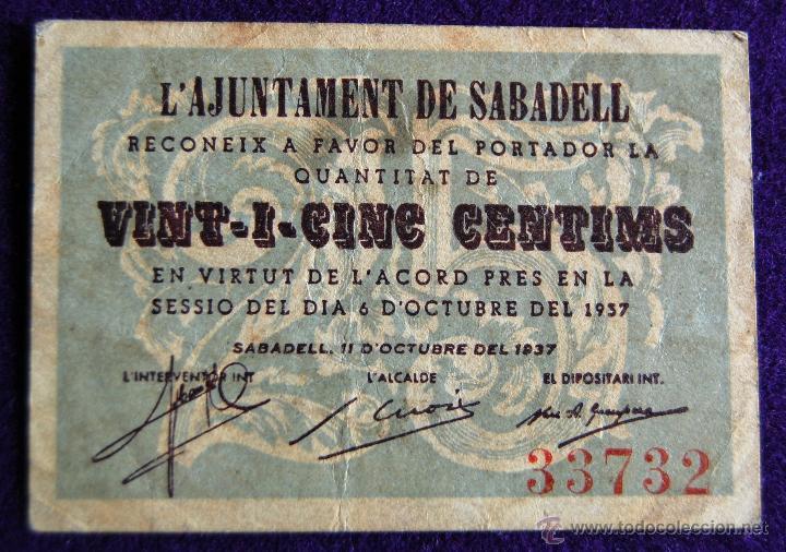 BILLETE LOCAL ORIGINAL DE EPOCA. AYUNTAMIENTO SABADELL. 25 VINT-I-CINC CENTIMOS. 1937. GUERRA CIVIL. (Numismática - Notafilia - Billetes Locales)